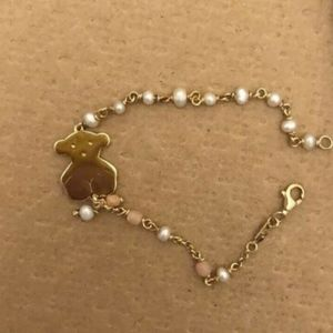 TOUS chain bracelet: vermeil, pearls and pink opal